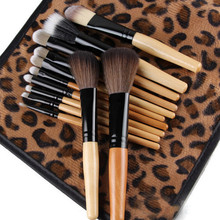 2015 New Fashion Womens 12 PCS Pro Makeup Brush Set Cosmetic Tool Leopard Bag Beauty Brushes