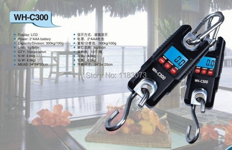 Big Disocunt!!! 300kg /0.1kg 300KG -100g Mini Crane Scale LCD Digital Electronic Hook Hanging Scale with White Backlight