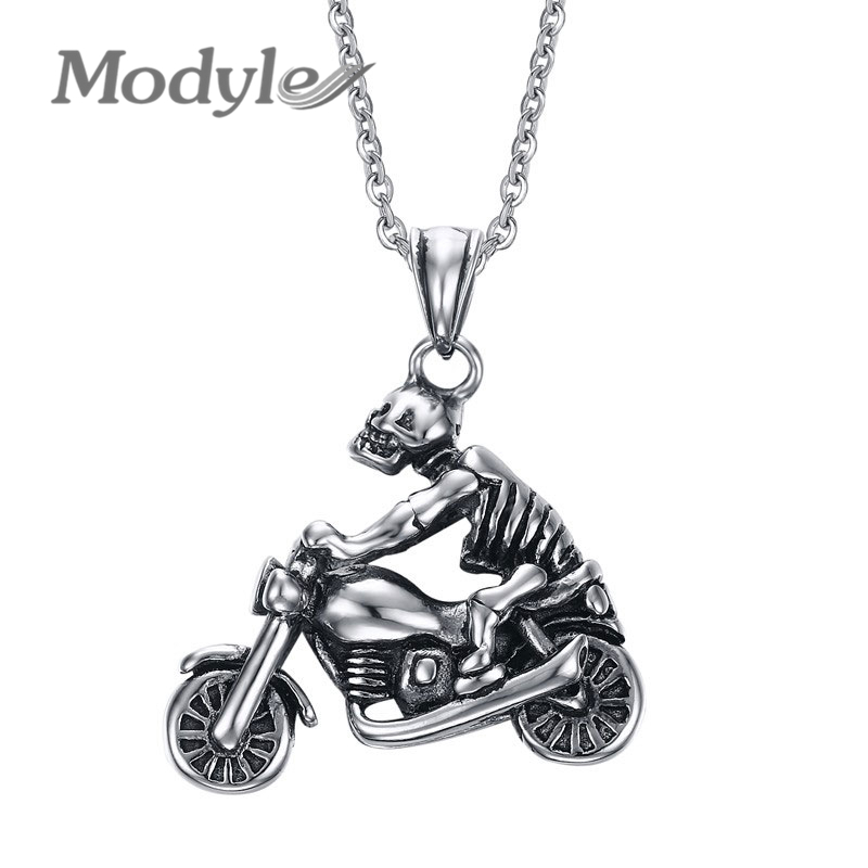 Modyle New Punk Men Skull Pendant Necklace Fashion Ghost Rider Necklace Cool Skeleton Necklace Men Jewelry(China (Mainland))