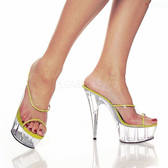 Фотография 6 Inch Neon Wedges Platforms Shoes 15cm Bordered Clear Night Club Fish Mouth Crystal Shoes Exotic Dancer Women Slippers Sandals