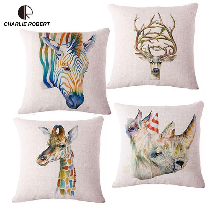 WaterColor Home Decorative Animal Cushion European Nordic Style Throw Pillow Snap Sofa Bed Cushion Slipcover PillowCase HH885(China (Mainland))
