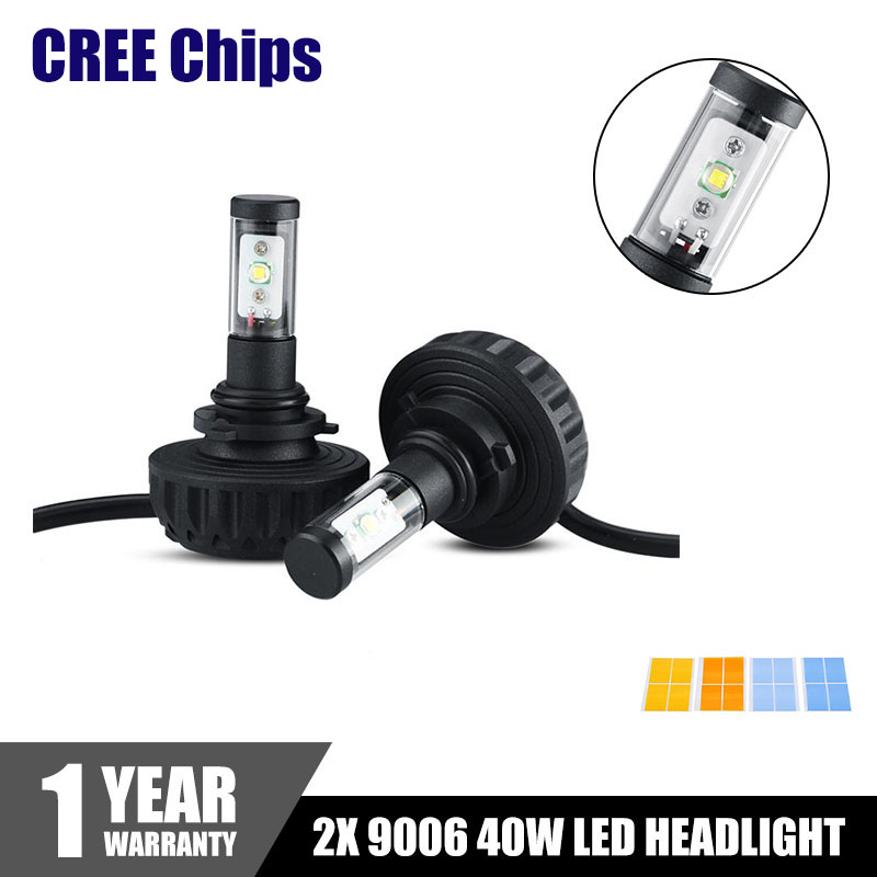 2x 9006 CREE Chips LED Headlights 40W 4400LM LED Car Headlight Lamp Bulbs Fog Light 3000K 4300K 6500K 8000K 10000K 5 Colors DIY(China (Mainland))