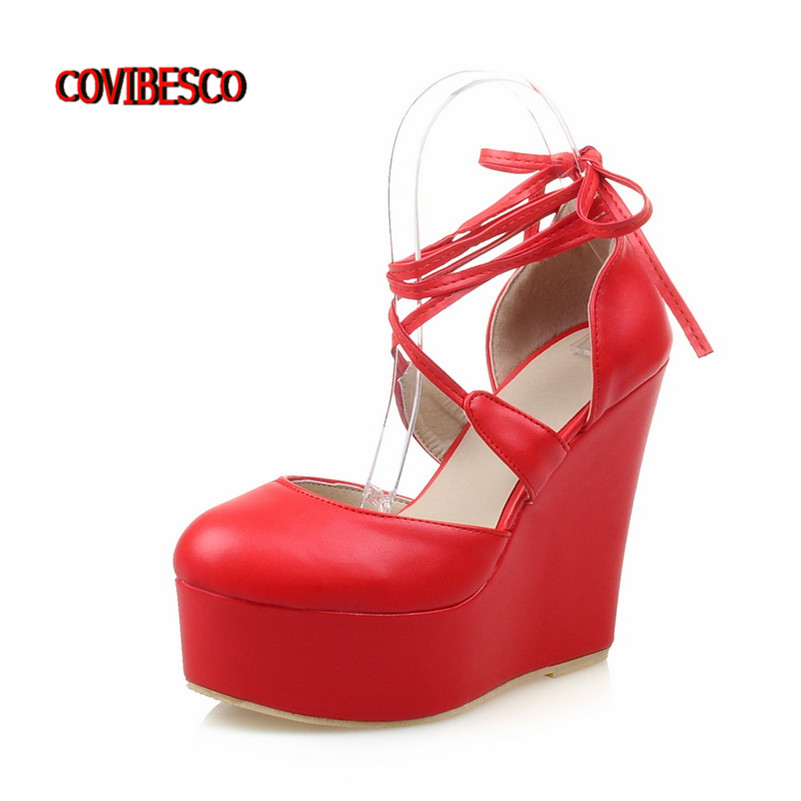 Quality Women Wedges High Heels 2016 New Fashion Shoes Platforms Lace Up Women Pumps Ladies Wedding Shoes White Red Black Pumps