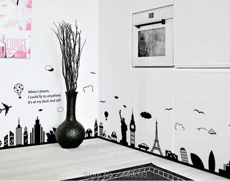 World Map Wall Sticker Black Vinyl London Paris World Famous Travel Place Wall Decals Large Sticker Home Decoration