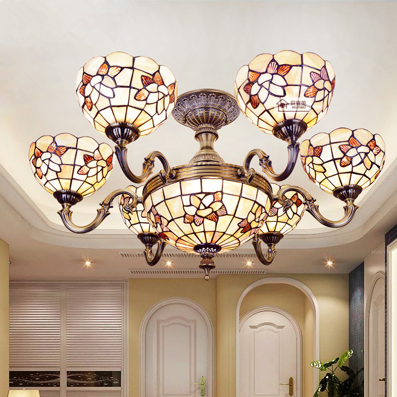 32 inch shell decoration ceiling lamps mediterranean style for Makeup by tiffany d living room