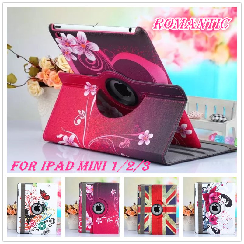 new painted flower Pu Leather 360 Degree Rotating Case for ipad mini Smart Cover table case For iPad Mini 2 3 Retina 7.9inch(China (Mainland))