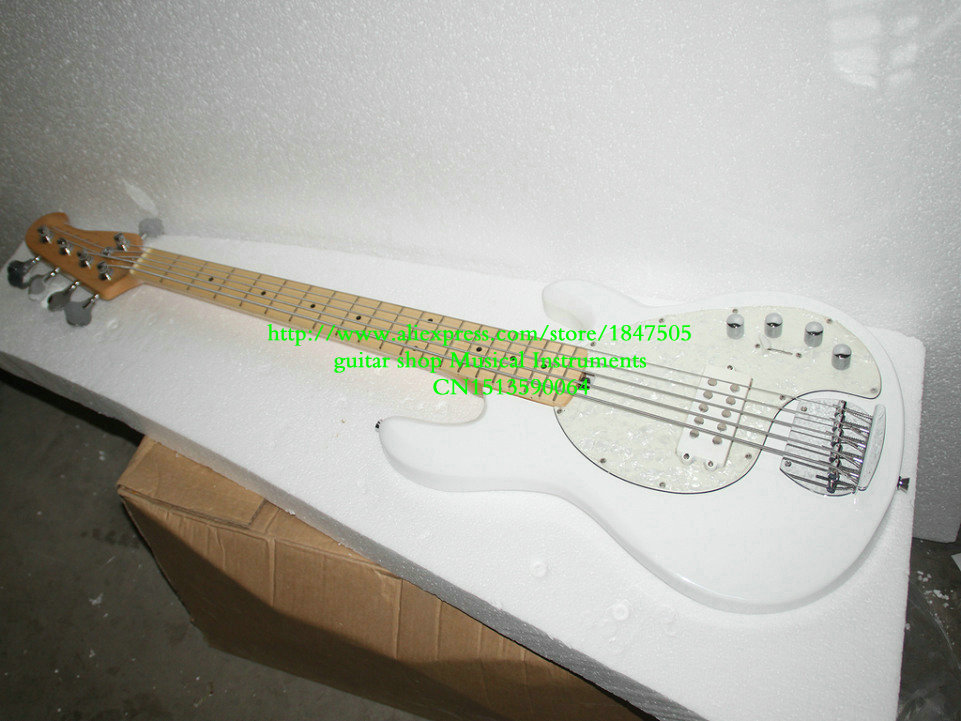 Custom High quality 5 string Good sound white bass guitar Free shipping music(China (Mainland))