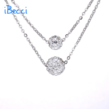 "Jewelry Store Online 925 Sterling Silver Necklaces Ball Pendant 18"" Chain Necklace Multi Layer Necklace Sterling Silver Jewelry"