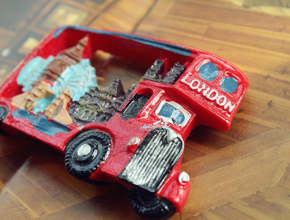 UK London Double Decker Bus Tourist Travel Souvenir 3D Resin Fridge Magnet Craft(China (Mainland))