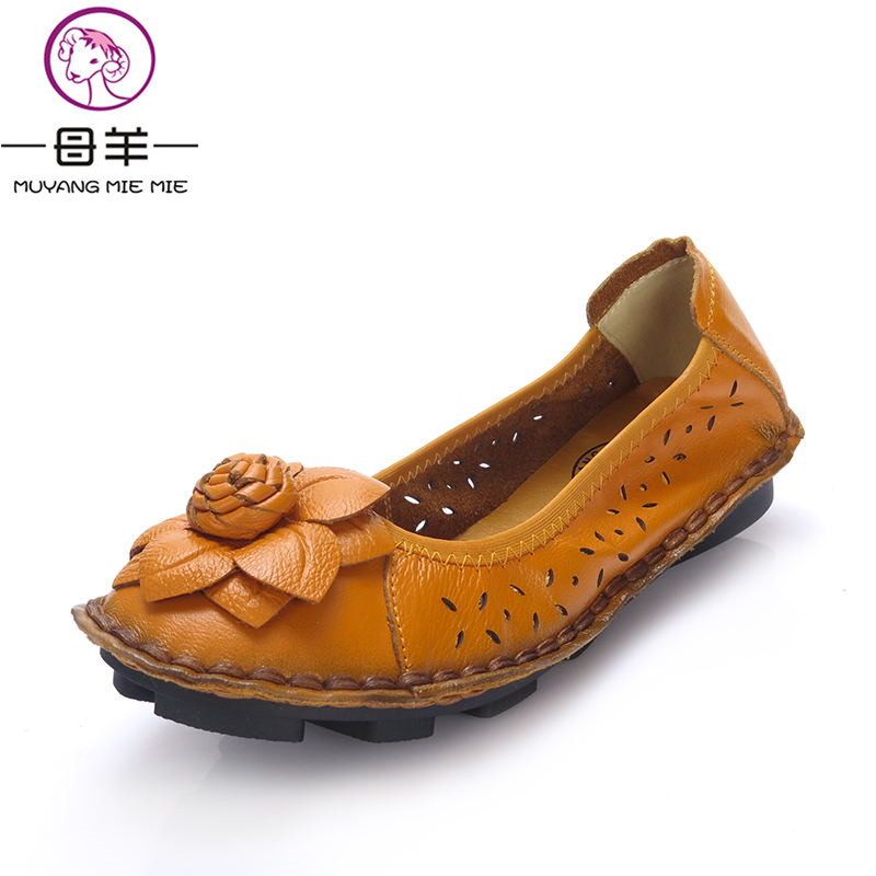2016 Summer Shoes Woman Casual Handmade Flower Flats Women Genuine Leather flat Sandals Super soft comfortable - Oh,Here store