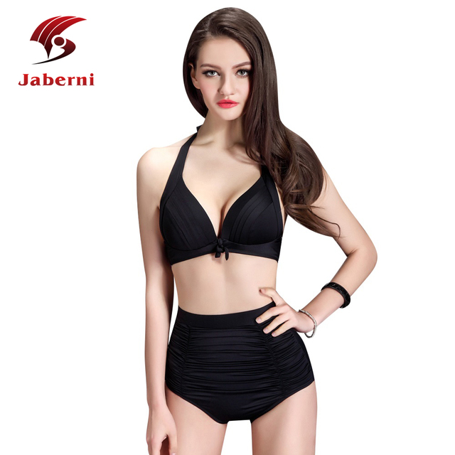 2016 черный купальный костюм чистой высокая талия нижняя женщины бикини и Biquini дамы сексуальное пляж высоких частот костюм