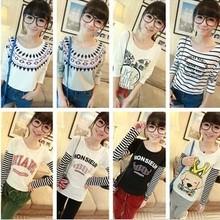 2014 Promotion Direct Selling O-neck Women's Autumn Small Fresh School Wear Basic Shirt Young Girl Harajuku Long-sleeve T-shirt(China (Mainland))