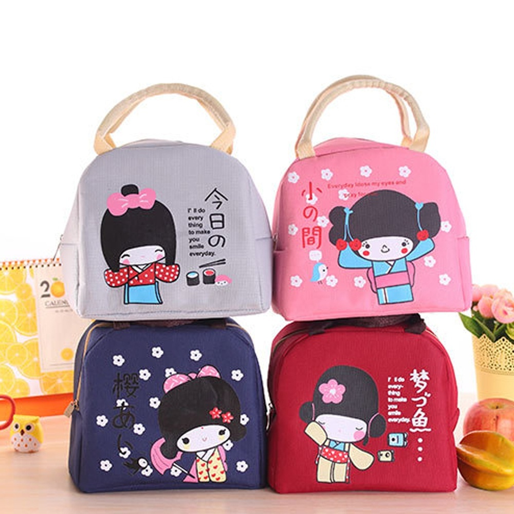 1 pc New Girl Canvas Bento Lunch Boxes Large Bag Portable Insulation Food storage Bag Thickening Hot(China (Mainland))