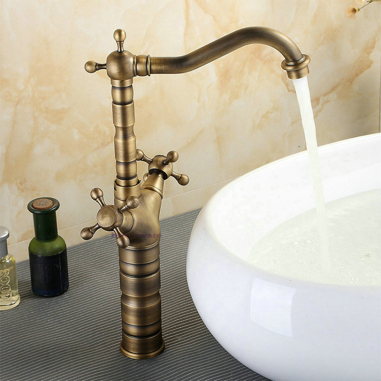 Lavabo Para Baño Antiguo:antiguo grifo de la manija Dual para baño del fregadero del lavabo