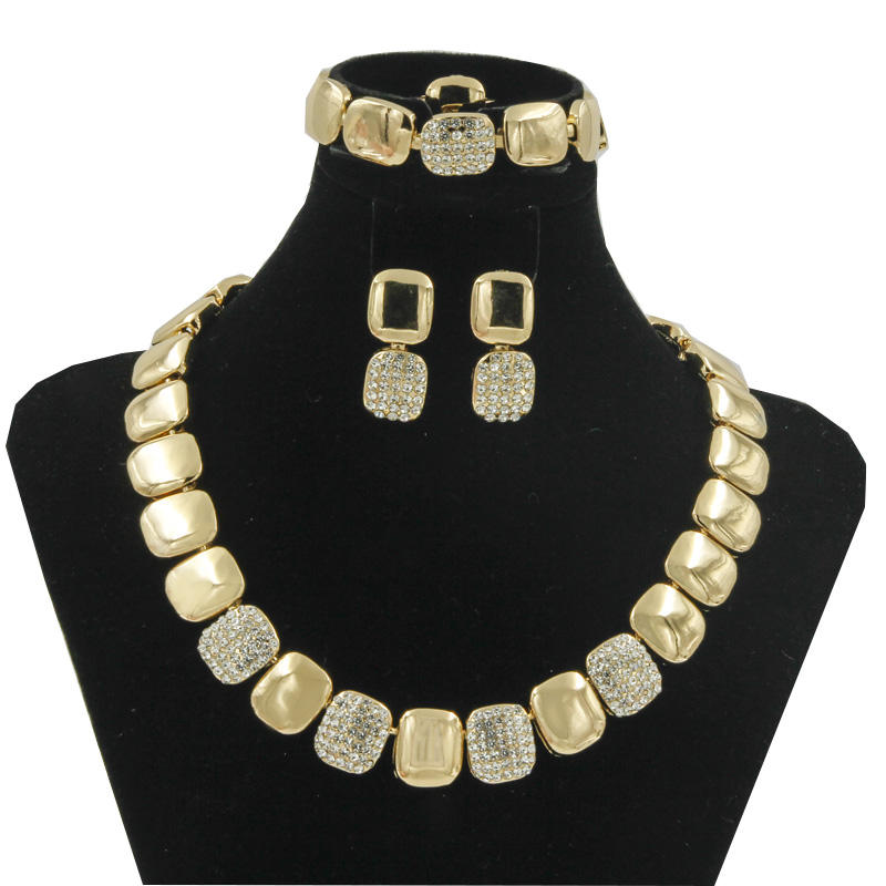 2017 dubai exotic gold silver high quality crystal jewelry sets china retail wedding party jewelry accessories(China (Mainland))