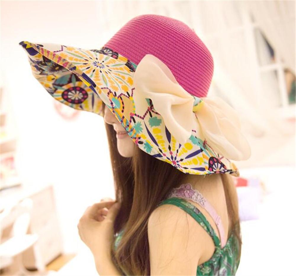 2016 Fashion Summer Straw Hat Print Beautiful Flower Cap Women's Ladies' Wide Large Brim Floppy Beach Hat Sun Hat(China (Mainland))
