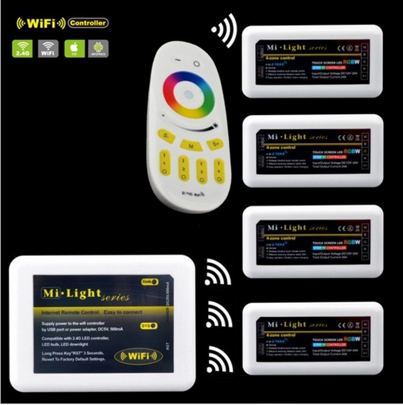 Free shipping Remote+WiFi +4x RGBW LED Controller group control 2.4G 4-Zone Wireless RF Touch For RGBW Led Strip Light Lamp Bulb<br><br>Aliexpress