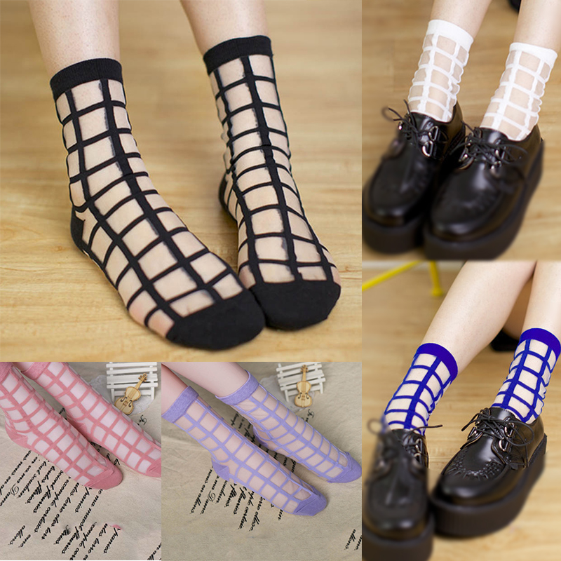 2 Pairs lot Women Summer Novelty Transparent grid socks Glass Crystal Silk Cool Mesh Knit Sheer