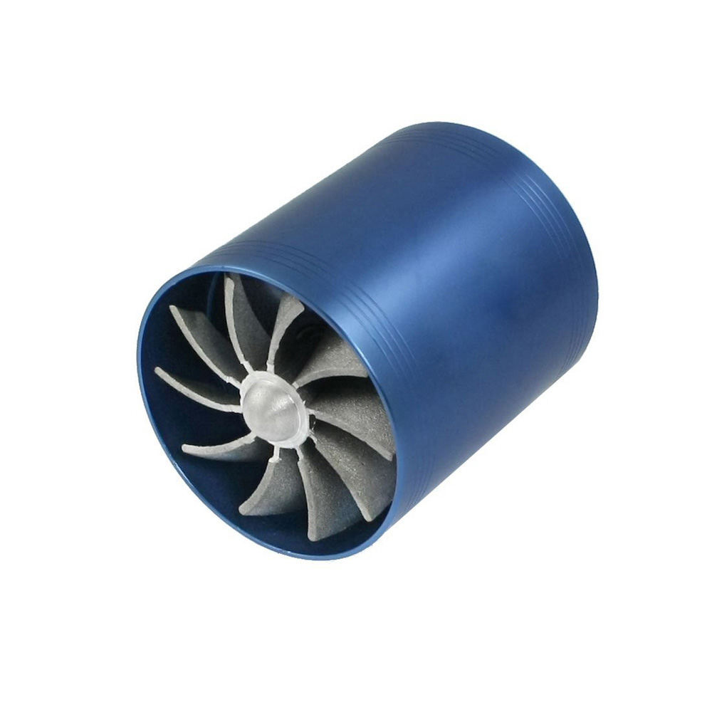 USA Stock! New Double Turbine Turbo Charger Air Intake Gas Fuel Saver Fan For Car (Blue)(China (Mainland))