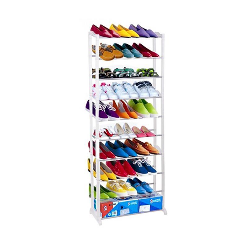 Saving Shoe Rack 2016 New Standing 10 Tier Shoe Shelf Rack Organizer Space White Shoes Organizer(China (Mainland))