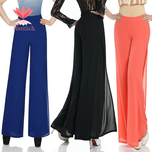 2015 Korean Style Women Chiffon Wide Leg Pants Trousers Ladies Loose Business Formal Work Long Pantalones Mujer L25206W6 - Hot Dropshipping store
