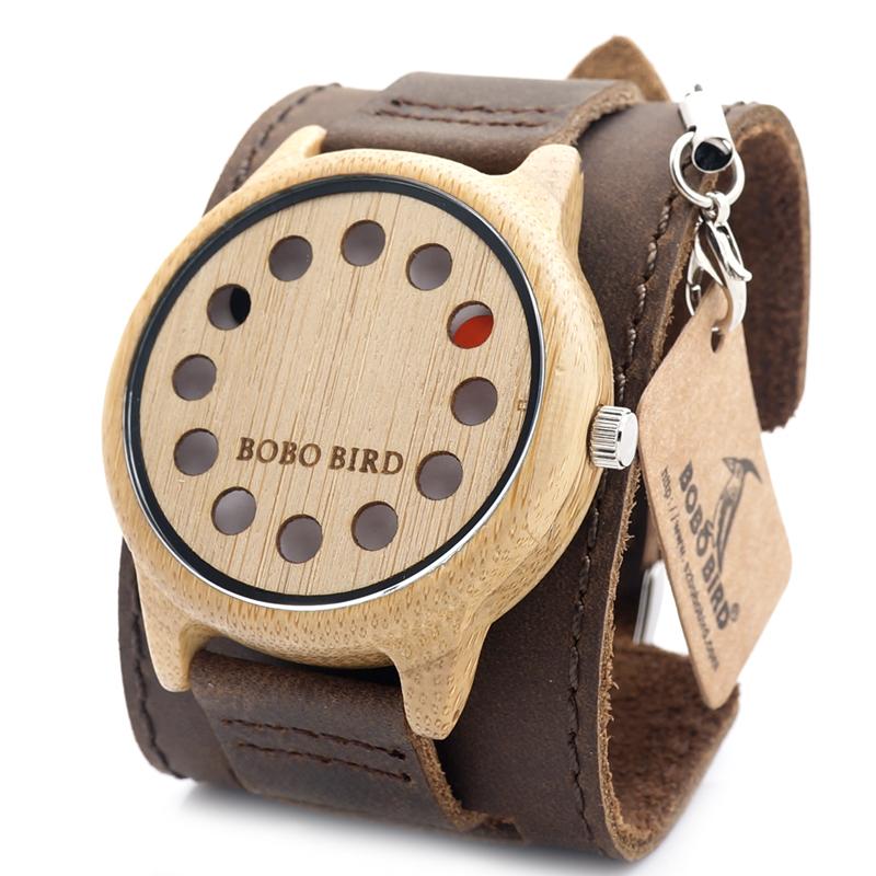 Hot Bobo Bird Brand Bamboo Wooden Watches 12holes Wood Case Face Soft Leather Detachable Band Quartz MVMT Mens Watch for women<br><br>Aliexpress