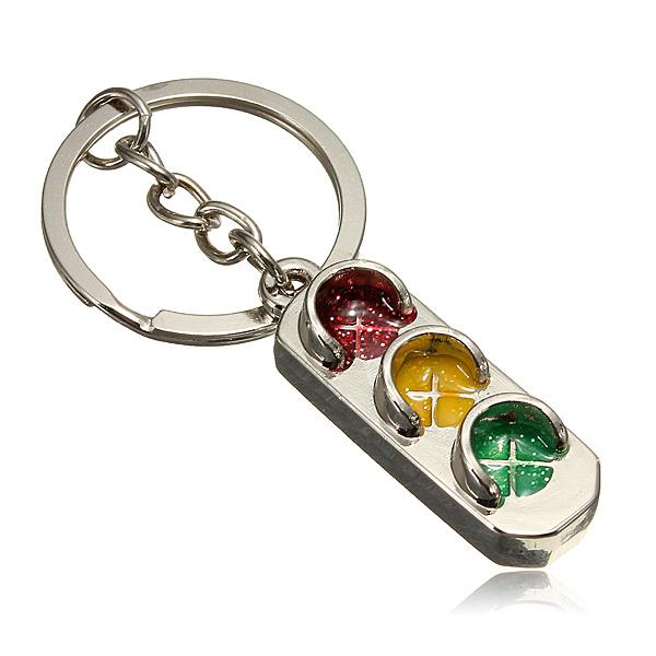 Brand New Classic 3D Solid Keychains Silver  Cute Traffic Lights Mini Key Ring Chain 2015<br><br>Aliexpress