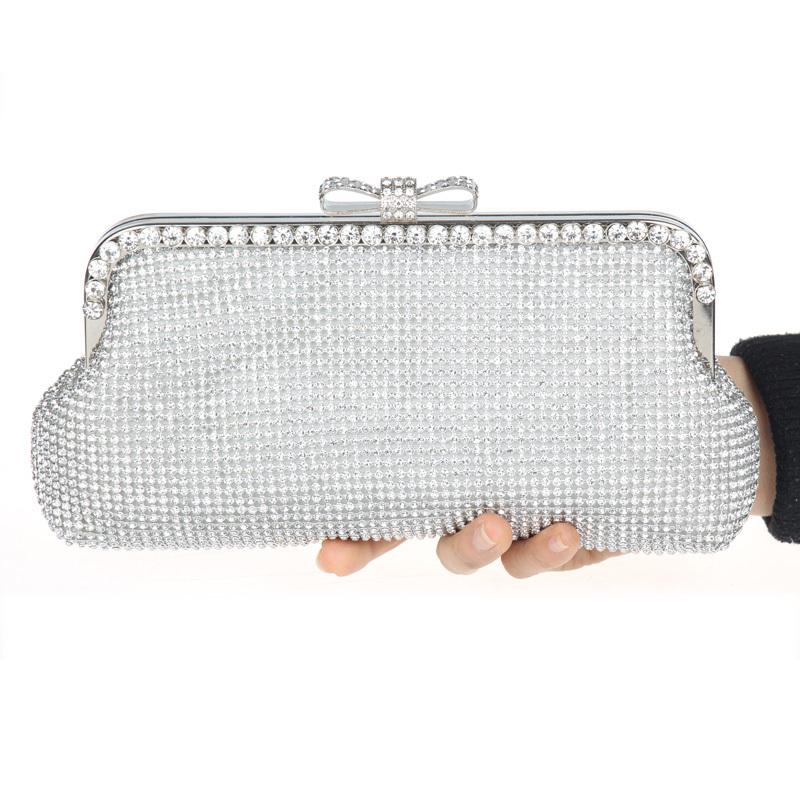 Silver Rhinestone Evening Bag Bridal Clutch Purse KK002 - KK Fashion Boutique store
