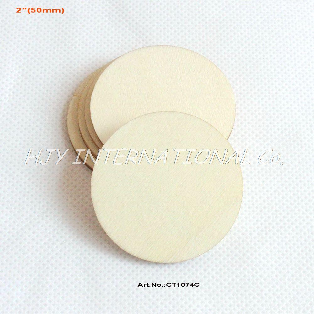 "(70pcs/lot) 50mm Blank cutout circle round large wood disks crafts paint decor wooden disc DIY 2""-CT1074G(China (Mainland))"
