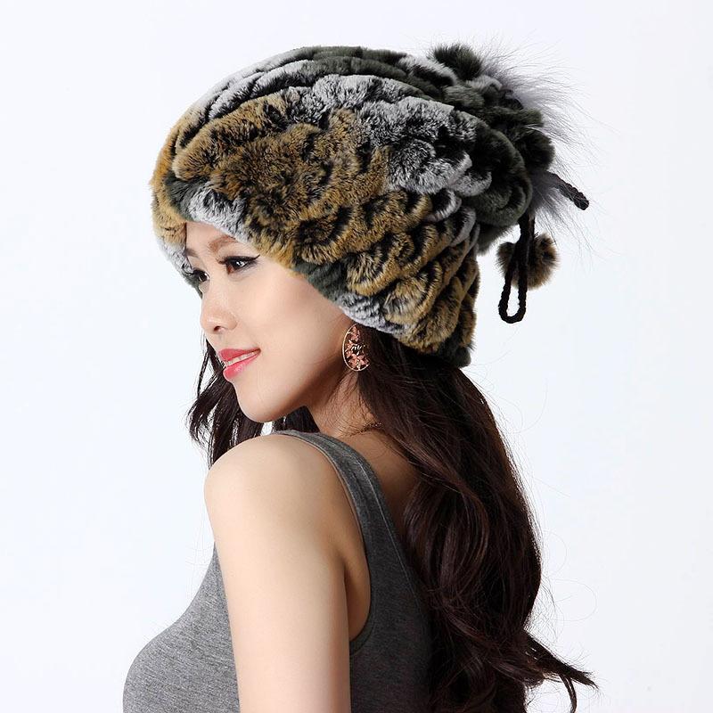Handmade Winter Women's Genuine Natural Knitted Rabbit Fur Hats Lady Neckwarmer Beanies Caps VF0435(China (Mainland))