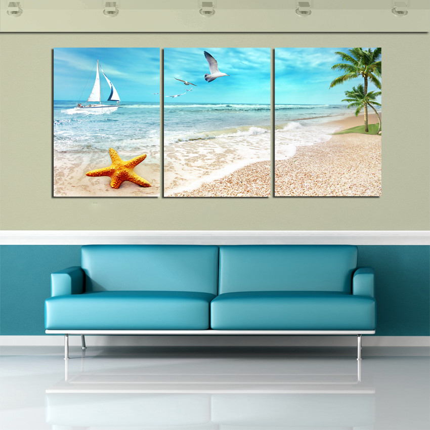 3 panel large beach canvas seascapes palm tree paintings 3 for 3 panel painting