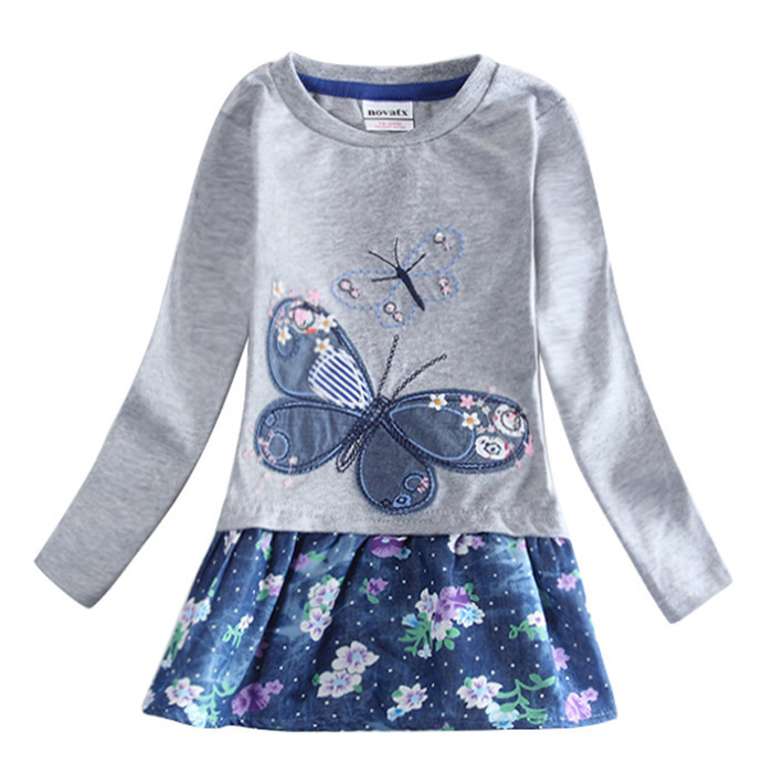 Lovely Patchwork Childrens Dresses for Little Girls Warm Autumn Kids Pleated Dresses Butterfly Pattern Hot Sale H5460(China (Mainland))