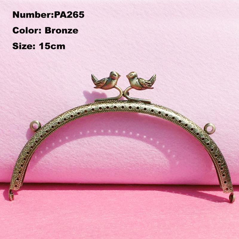 PA265 Purse Frame Hanger Embossing Birds 15cm Bronze Metal Clasps Purses Accessories Handles Handbags Diy Bag Parts(China (Mainland))