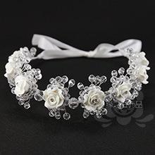 2015 White handmade crystal beads headbands 8 clay flowers hair wear brides wedding accessories - Walking in Beauty(Min order $15 store)