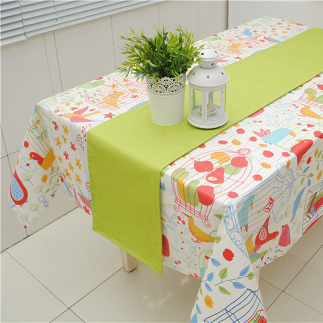 100% cotton solid color green series fruit table runner double faced tablecloth gremial customize(China (Mainland))
