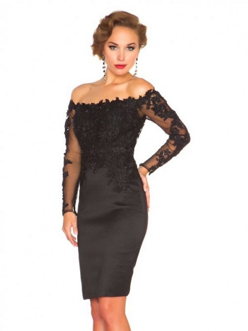 buy black lace long sleeve short evening dresses 2015 formal dress party. Black Bedroom Furniture Sets. Home Design Ideas