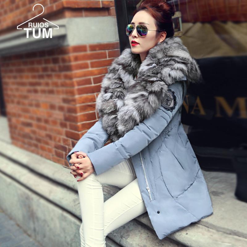 Winter jacket women 2015 parka Women Detachable Fur Collar Slim Thin Coat Jacket And Long Sections Thicker winter jacket S-XL