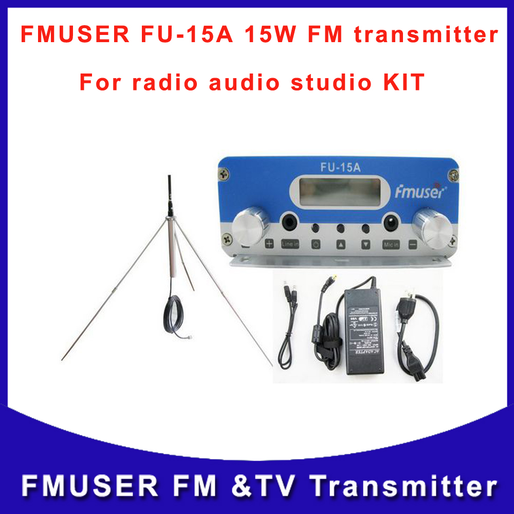 Free shipping FU-15A 15W FM transmitter wrieless transmitter and 1/4 wave GP fm antenna with Power supply A KIT(China (Mainland))