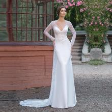 Buy Sexy Sheath V Neck Beaded Lace Long Sleeve Wedding Dresses 2017 Detachable Train Bridal Gowns vestido de noiva sereia UW69 for $286.20 in AliExpress store