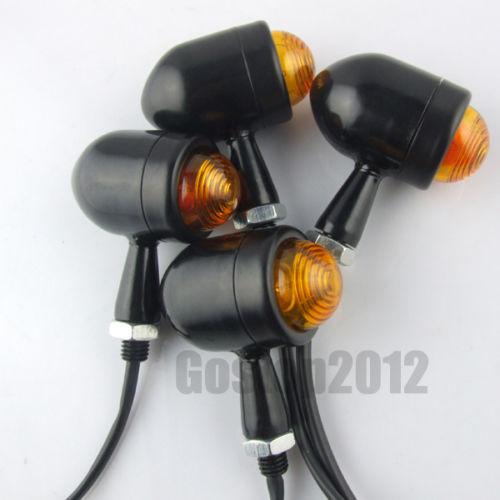 Free Shipping 4x Motorcycle Mini Bulb Turn signal light Bullet For chopper Bobber Cafe Racer