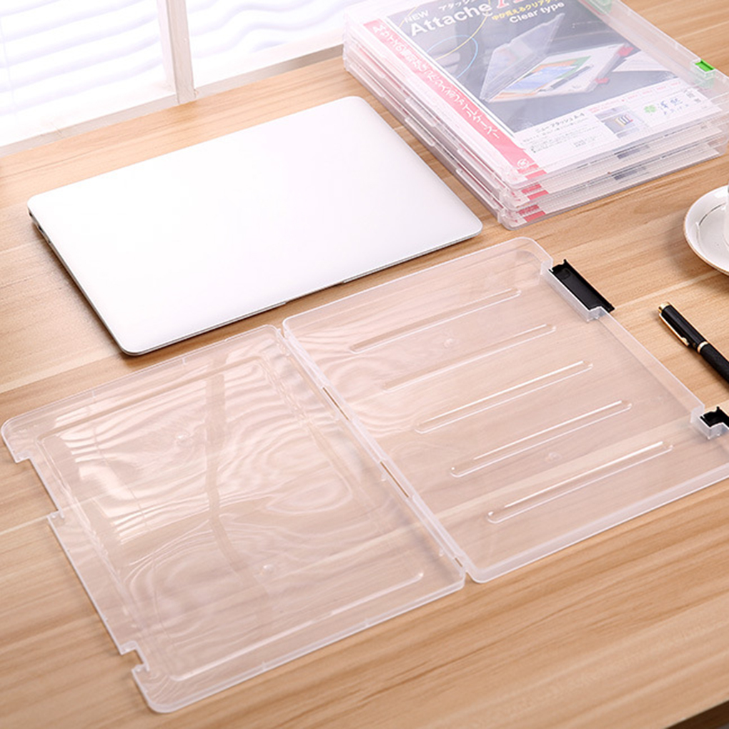 New high quality A4 File Storage Box Clear Plastic Document Cases Desk Paper Organizers multifunctional sorting stationery box(China (Mainland))