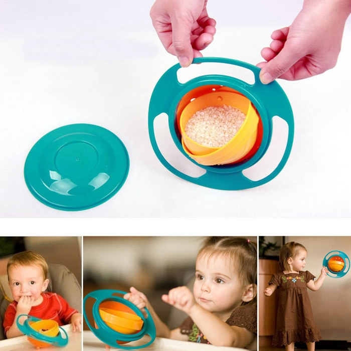 1 PC Baby Kid Boy Girl Gyro Feeding Toy Bowl Dishes Spill-Proof Universal 360 Rotate Technology Funny Gift pratos(China (Mainland))