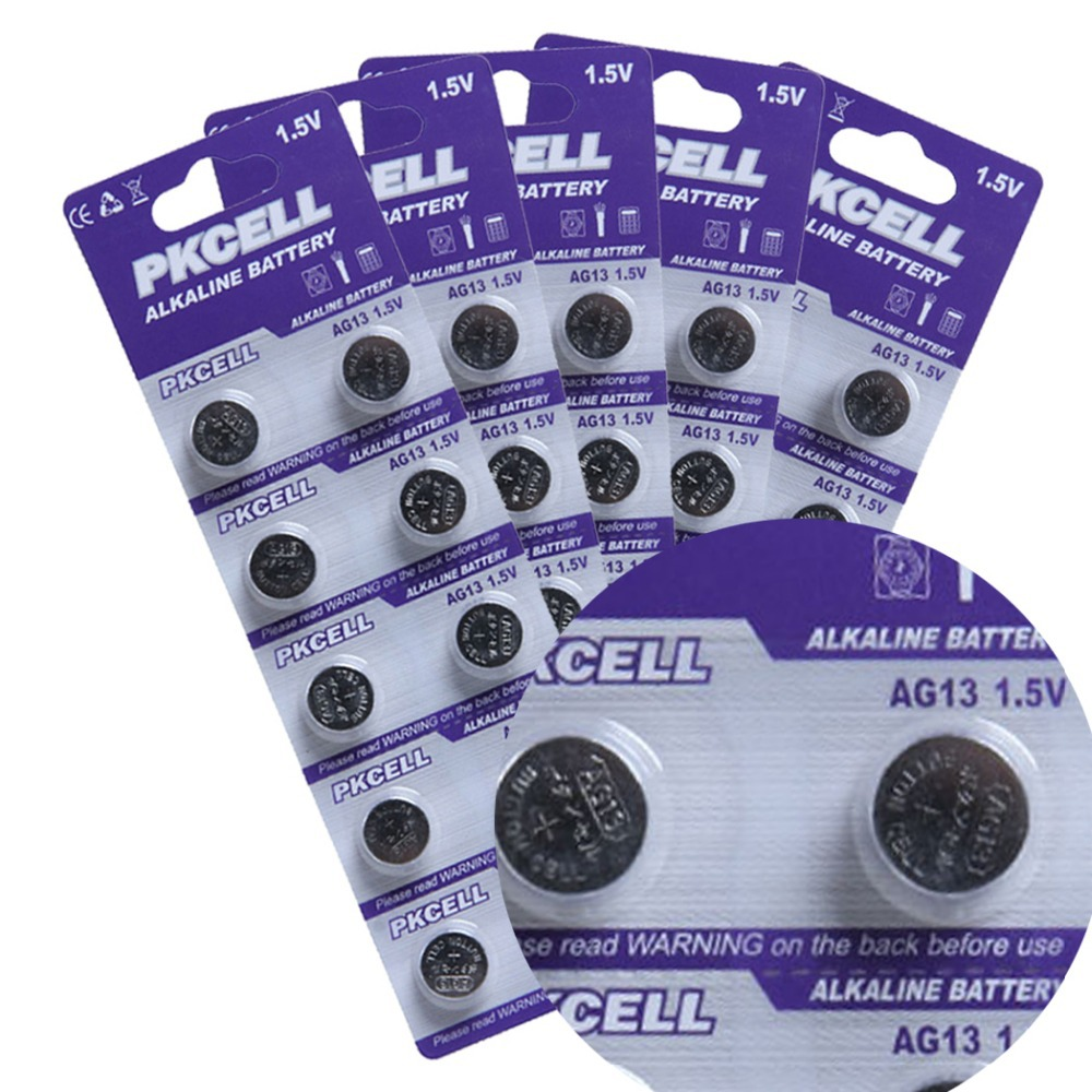 100Pcs 10card 1 5V AG13 LR44 L1154 RW82 RW42 SR1154 SP76 A76 357A Battery Coin Cell