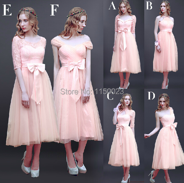 2015 new girl 39 s party dress lace wedding bridesmaid dress for Calf length wedding dresses