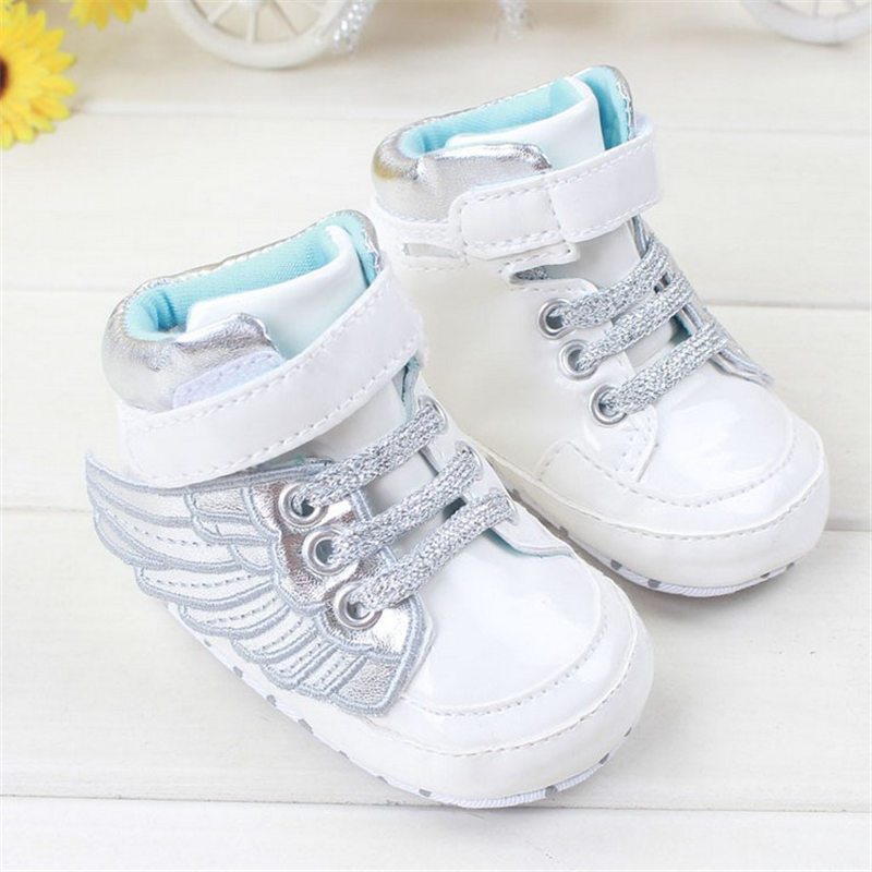 Brand Leather Newborn Bebe Shoe Solid White Angel Wings Baby Boys & Girls Shoes 0-18M for Toddler First Walkers(China (Mainland))