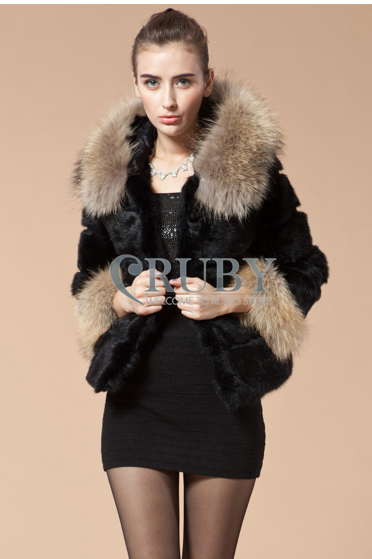 EMS 2013 Natural Rabbit Fur Coat Women Lady Real Raccoon Collar Hooded Overcoat Genuine Jacket PC10 - RUBY TOP 2 store