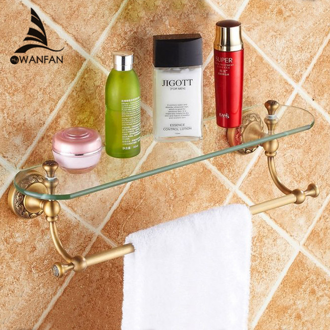 Free shipping 2014 New arrival Bathroom Accessories Solid Brass antique Finish With Tempered Glass,Single Glass Shelf ST-3711