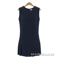 2015 Summer Dress Women Casual Sleeveless Key Hole Chiffon Dresses Pleated Party Club Mini Vestidos Femininos Free Shipping 0568