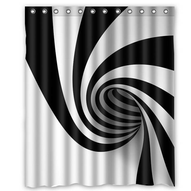 Acheter rideau de douche toilettes modernes blanc et noir imperm ables multicolore 66 x72 la for Douche noir et blanc