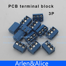 100 pcs 3 Pin Screw blue PCB Terminal Block Connector 5mm Pitch(China (Mainland))